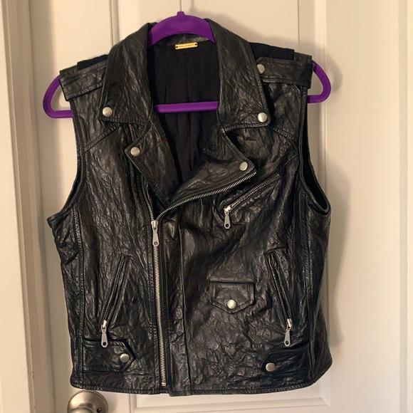 Black leather Rebecca Minkoff motorcycle vest